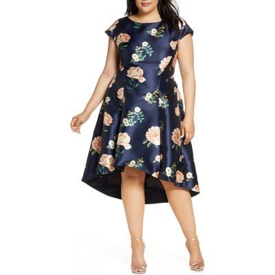 Plus Size Chi Chi London Curve Celina High/low Satin Cocktail Dress, Blue