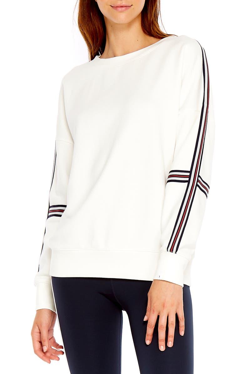 THE UPSIDE Captain Crewneck Sweatshirt, Main, color, WHITE