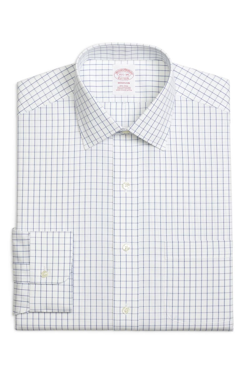 BROOKS BROTHERS Madison Classic Fit Check Dress Shirt, Main, color, BLUE