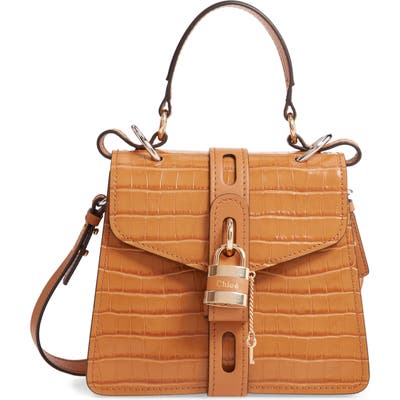 Chloe Small Aby Croc Embossed Leather Shoulder Bag - Brown