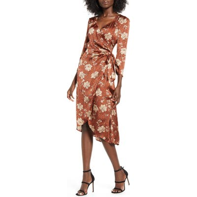 Leith Floral Print Wrap Dress, Brown