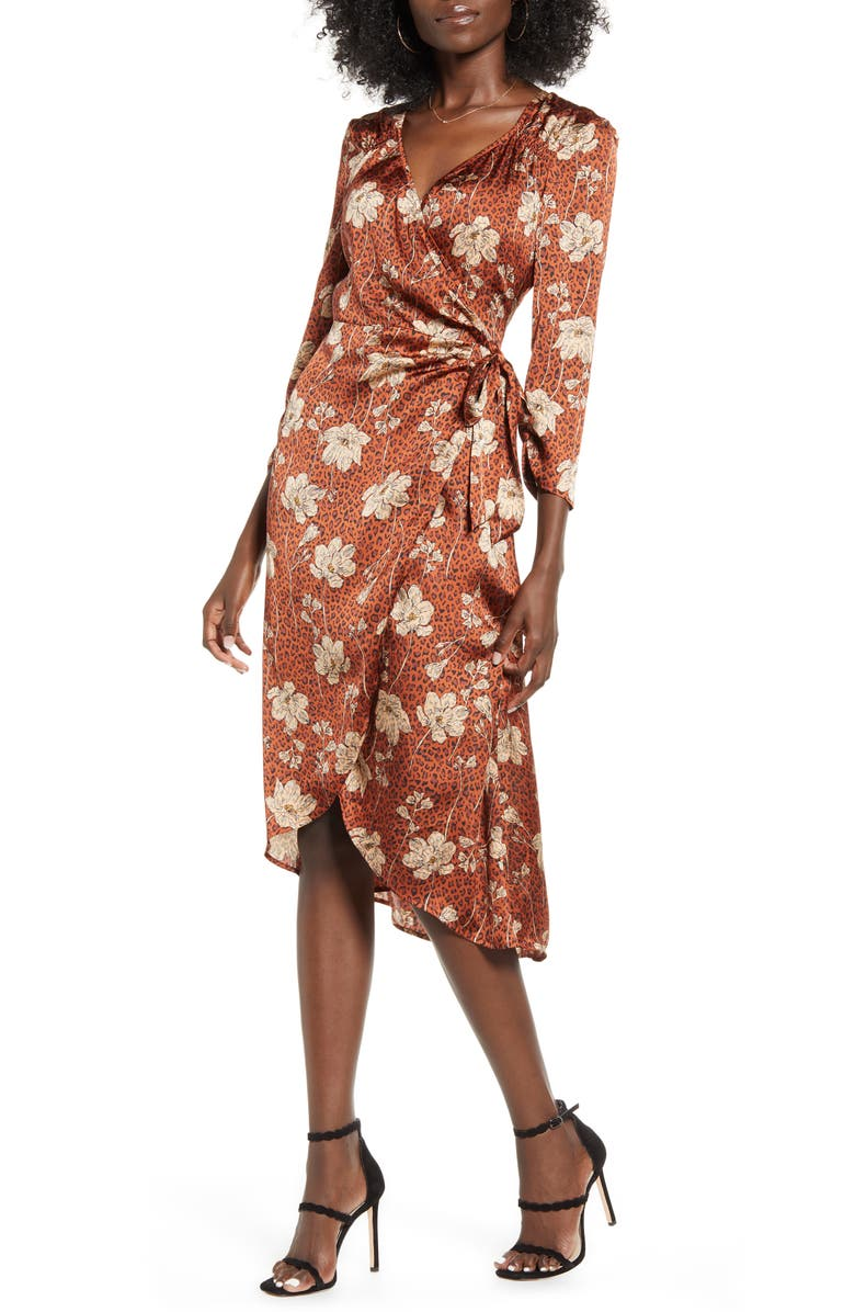 LEITH Floral Print Wrap Dress, Main, color, BROWN SPICE ANIMAL FLORAL