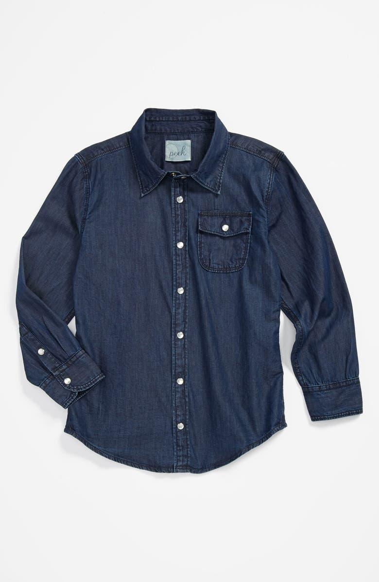 PEEK AREN'T YOU CURIOUS Peek 'Logan' Chambray Shirt, Main, color, 400