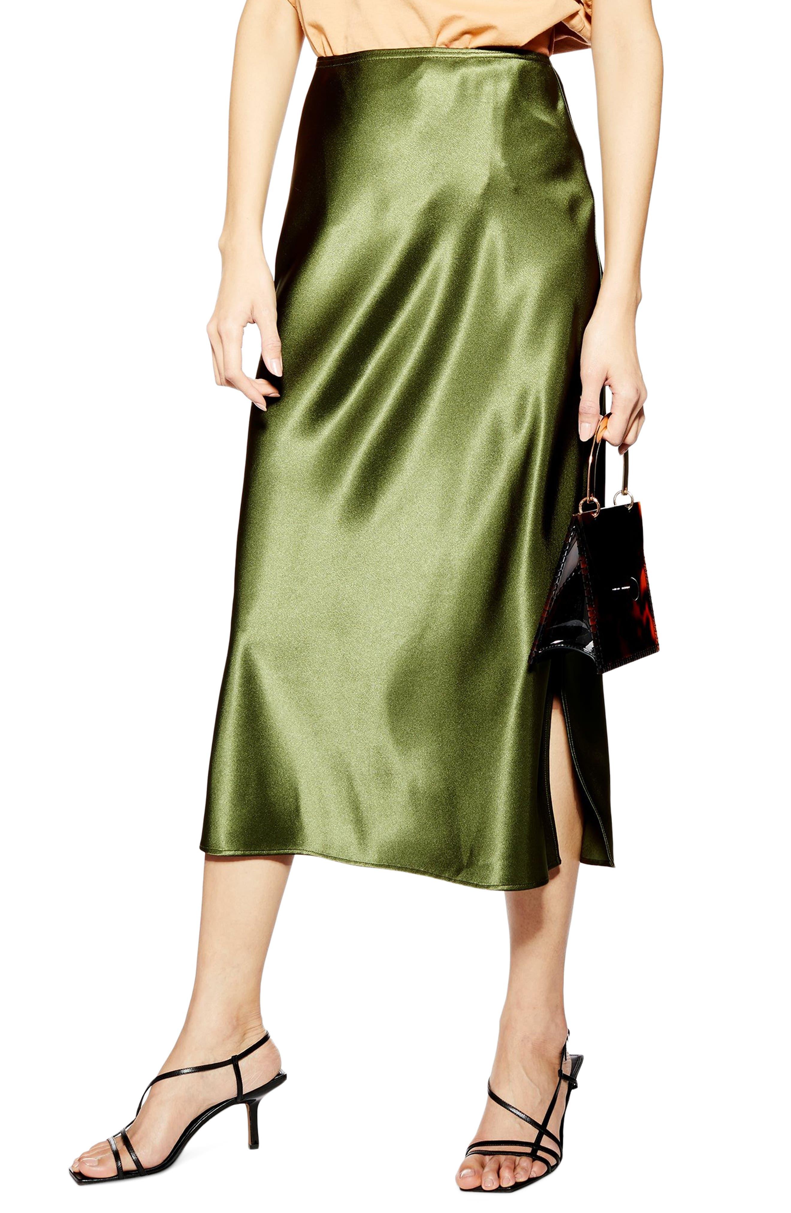 ,                             Slit Bias Cut Satin Midi Skirt,                             Main thumbnail 1, color,                             OLIVE