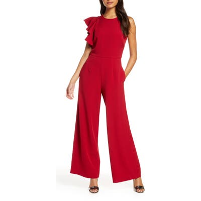 Julia Jordan Hunter Crepe Ruffle Shoulder Jumpsuit, Red