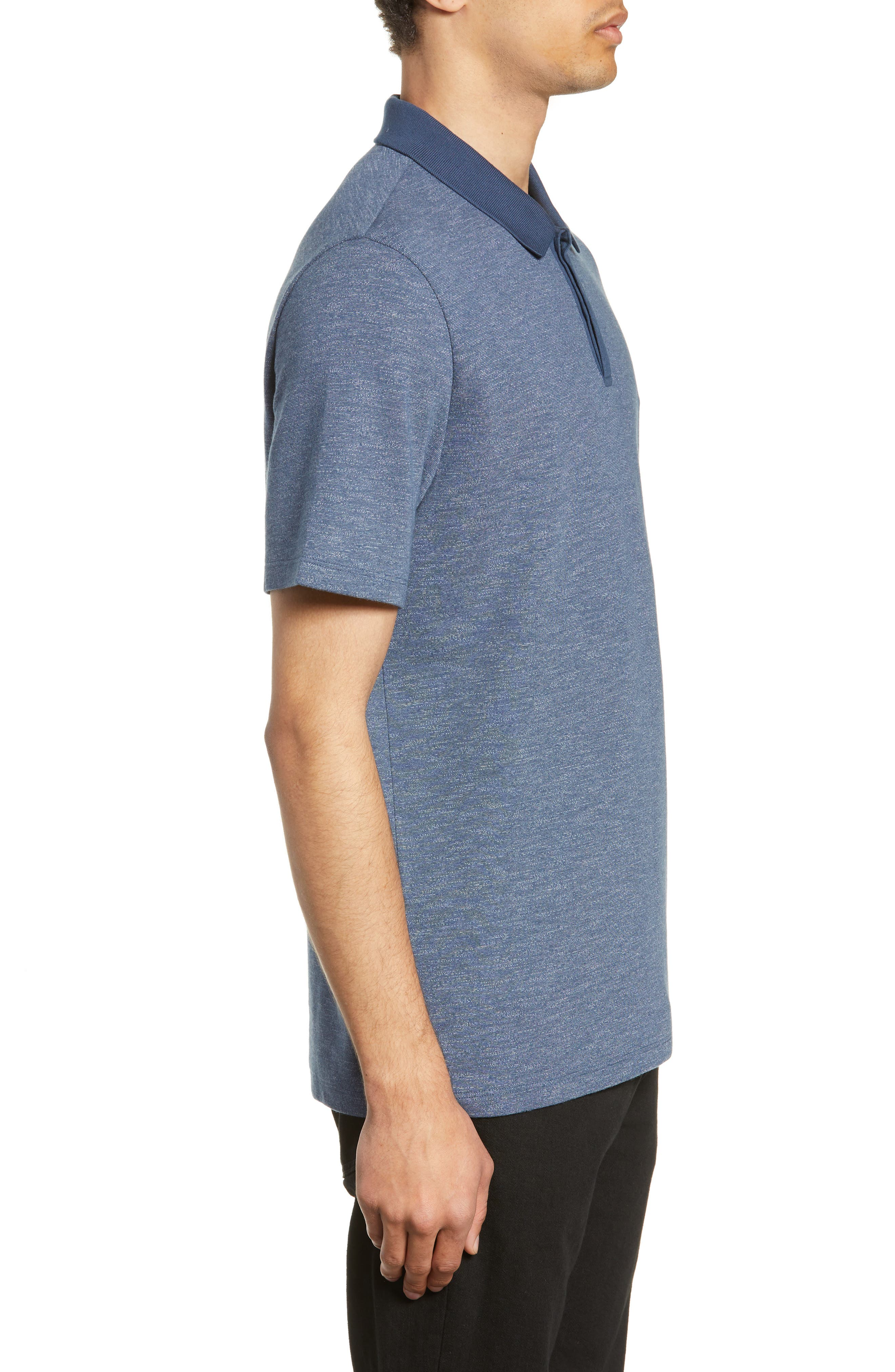 ,                             Mercerized Double Faced Jersey Polo,                             Alternate thumbnail 3, color,                             BLUE OASIS