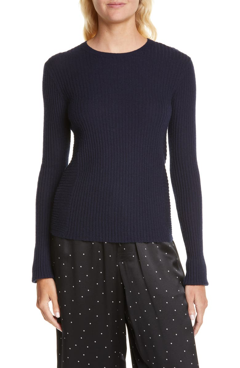 VINCE Directional Rib Cashmere Sweater, Main, color, COASTAL