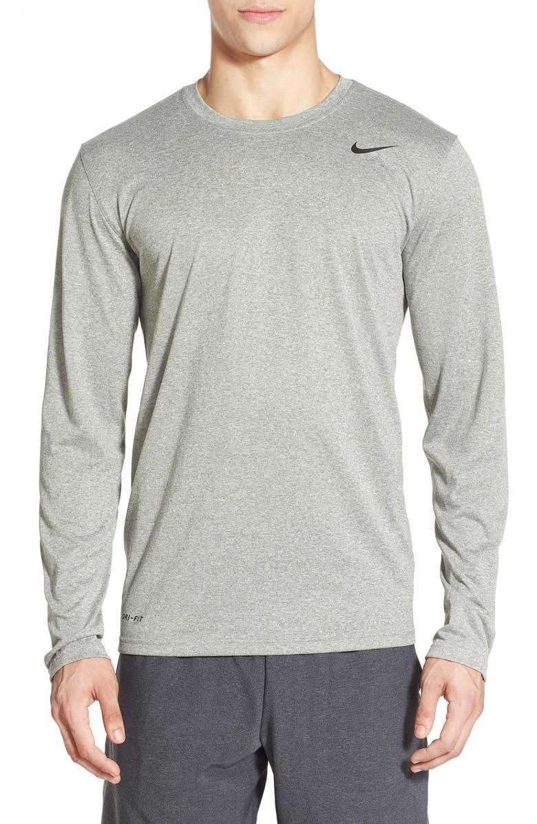 NIKE 'Legend 2.0' Long Sleeve Dri-FIT Training T-Shirt, Main, color, DARK GREY HEATHER/ BLACK