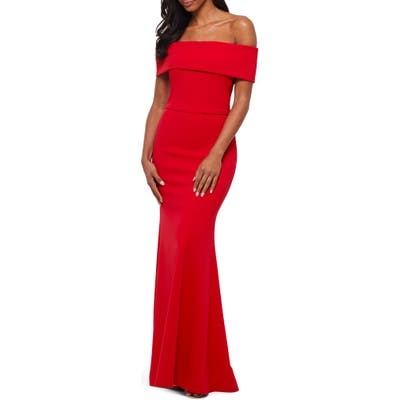 Betsy & Adam Off The Shoulder Back Ruffle Scuba Crepe Gown, Red