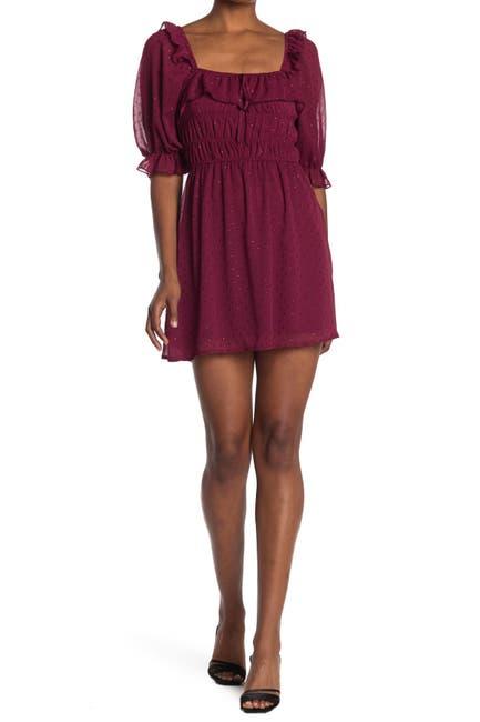 Image of ROW A Ruffled Elbow Sleeve Smocked Mini Dress