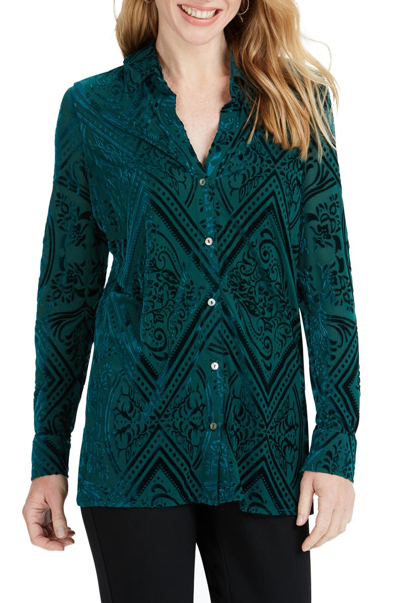 FOXCROFT Jade Velvet Burnout Top, Main, color, 440