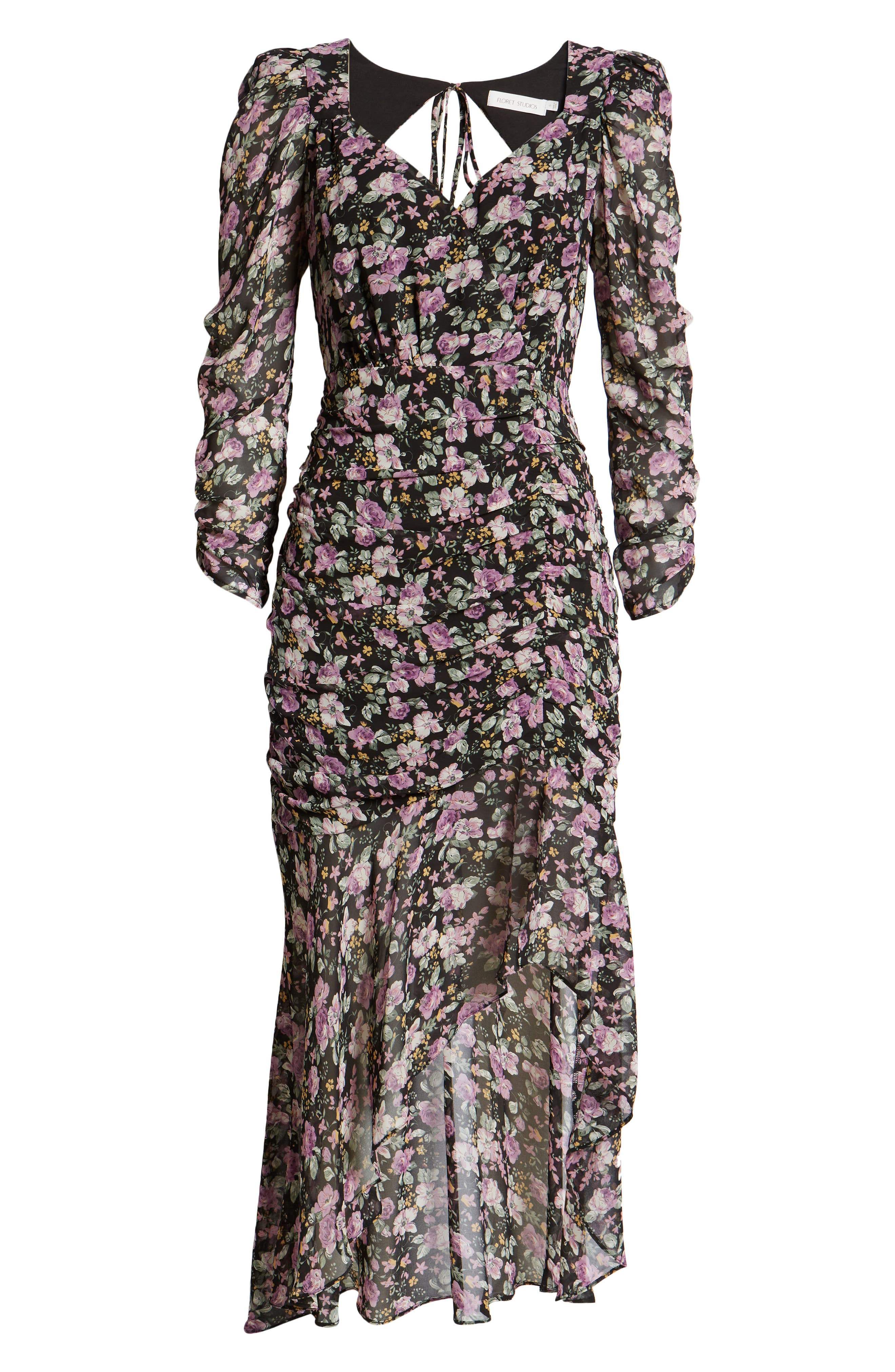 Floral Print Ruched Long Sleeve Dress