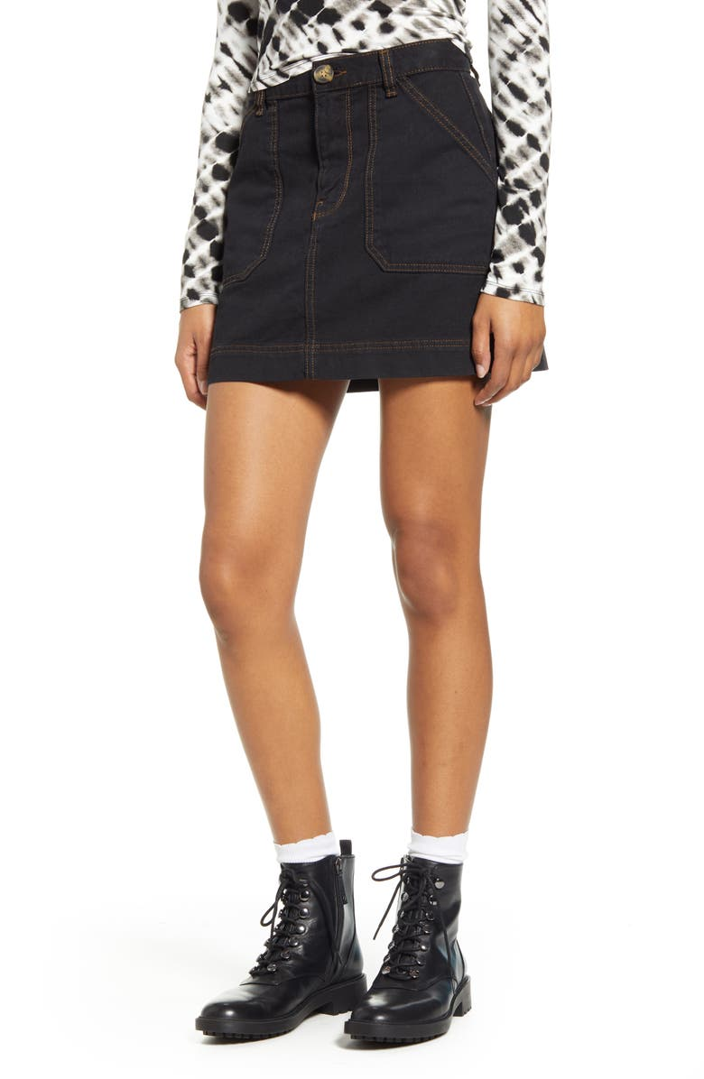 BDG URBAN OUTFITTERS Twill Carpenter Skirt, Main, color, 001