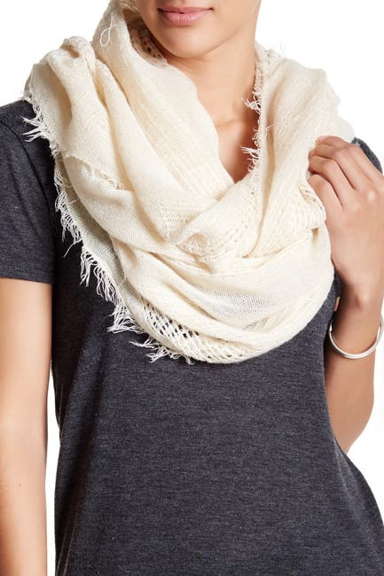 Image of Free Press Fringed Open Weave Infinity Scarf