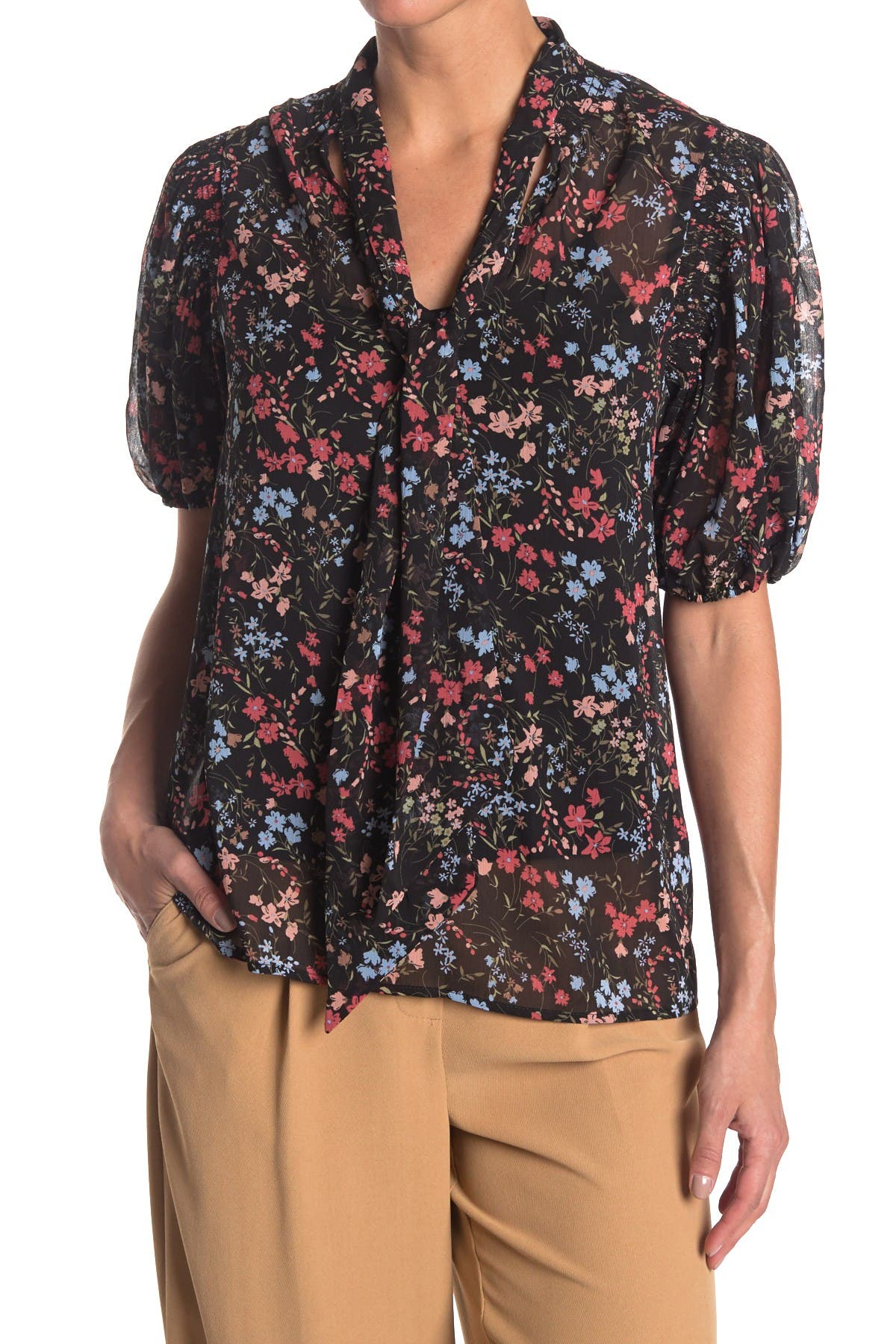 Image of Laundry By Shelli Segal Tie Neck Floral Blouse