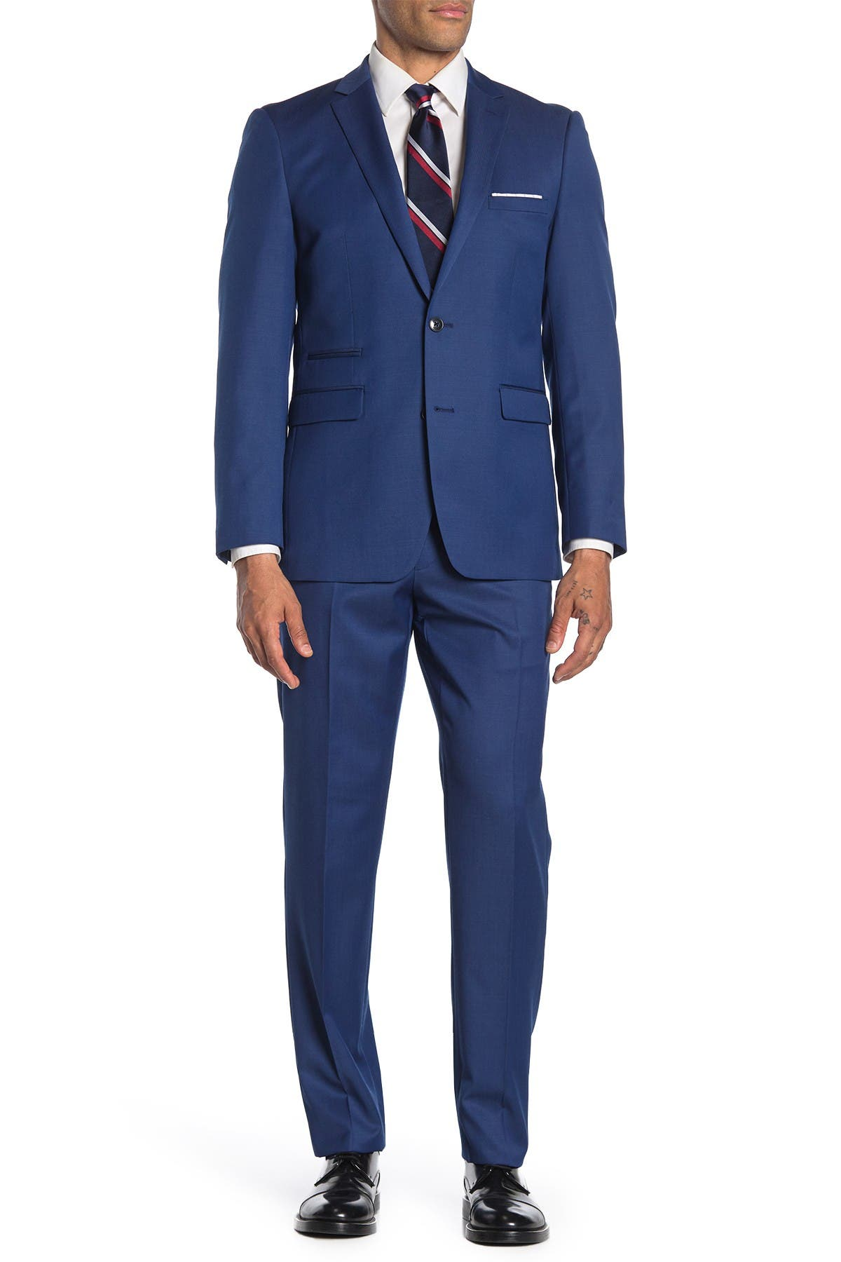 Image of Vince Camuto Medium Blue Solid Slim Fit 2-Piece Suit