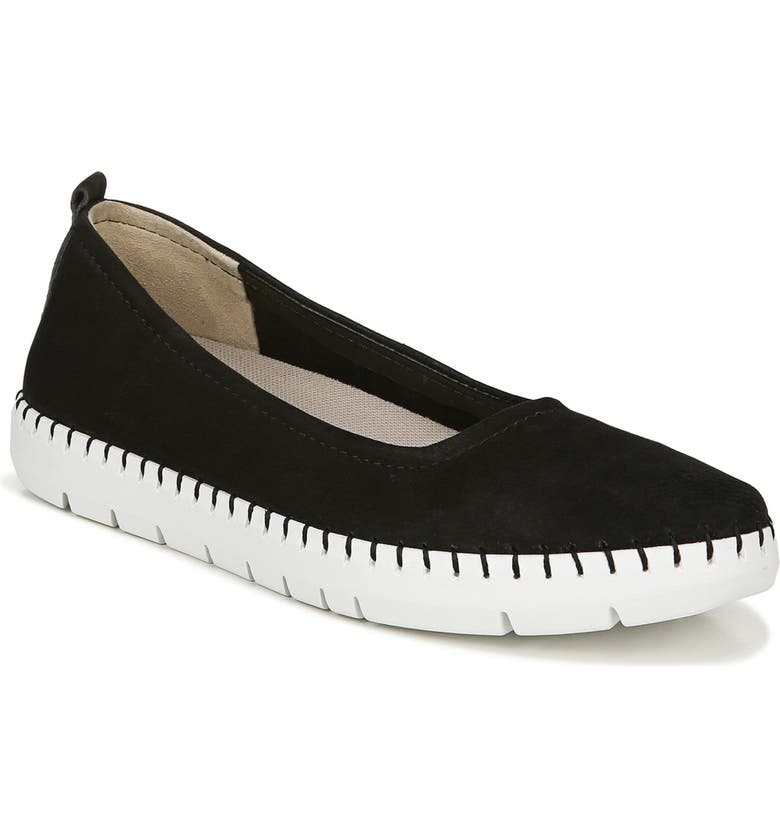 NATURALIZER Dolly Flat, Main, color, BLACK NUBUCK LEATHER