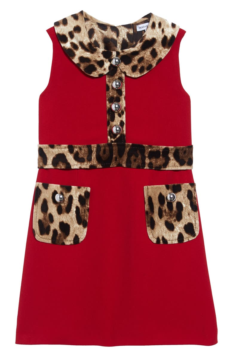 DOLCE&GABBANA Leopard Print Cady Dress, Main, color, BRIGHT RED