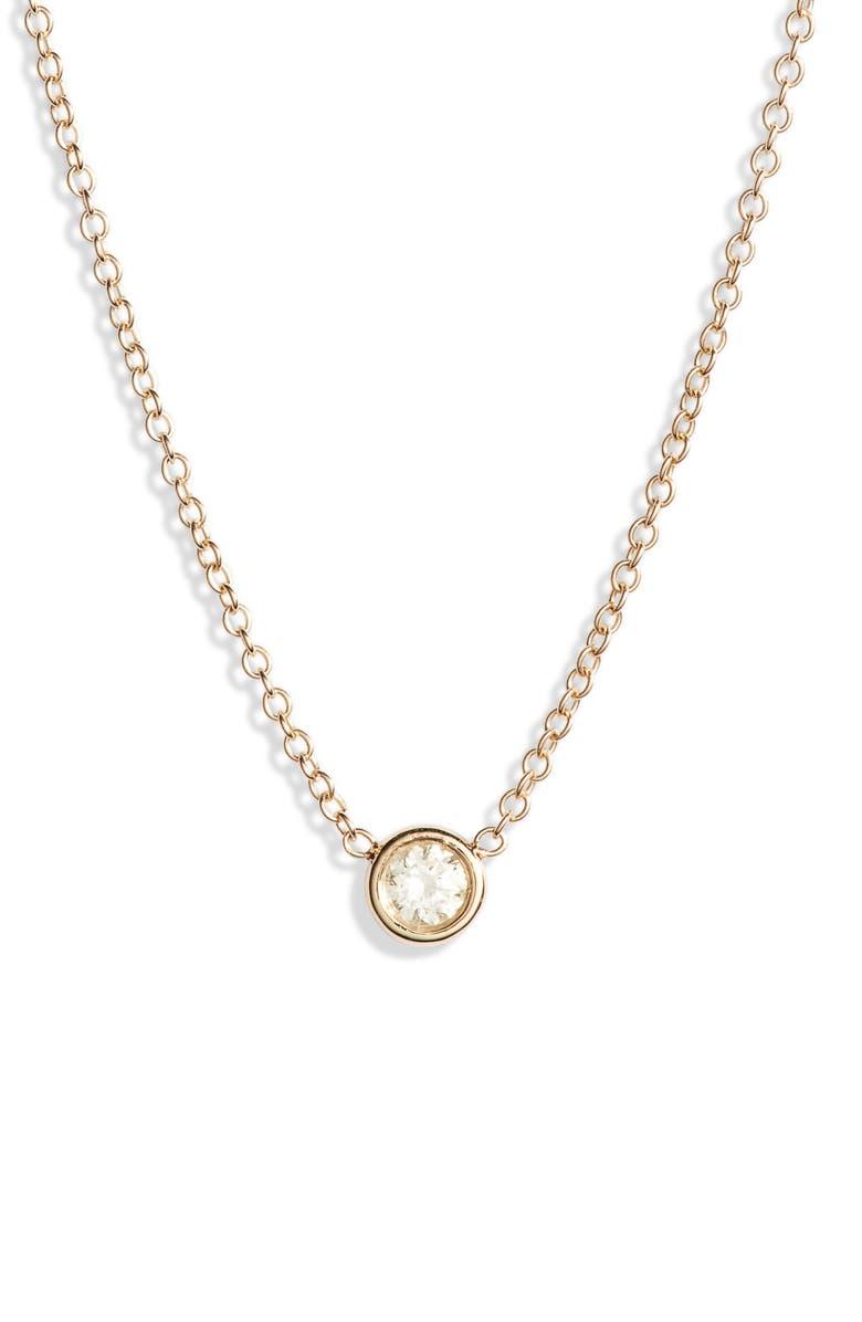 ZOË CHICCO Bezel Diamond Pendant Necklace, Main, color, GOLD/ DIAMOND