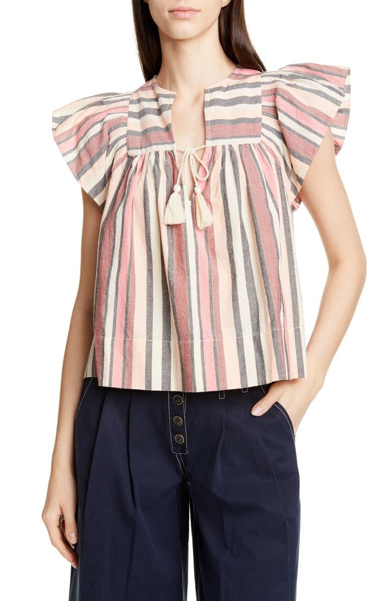 ULLA JOHNSON Amba Stripe Flutter Sleeve Blouse, Main, color, ROSEWOOD