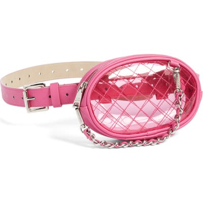 Steve Madden Diamond Quilted Clear Belt Bag - Pink