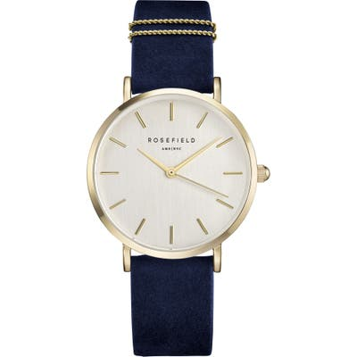 Rosefield West Village Leather Strap Watch,
