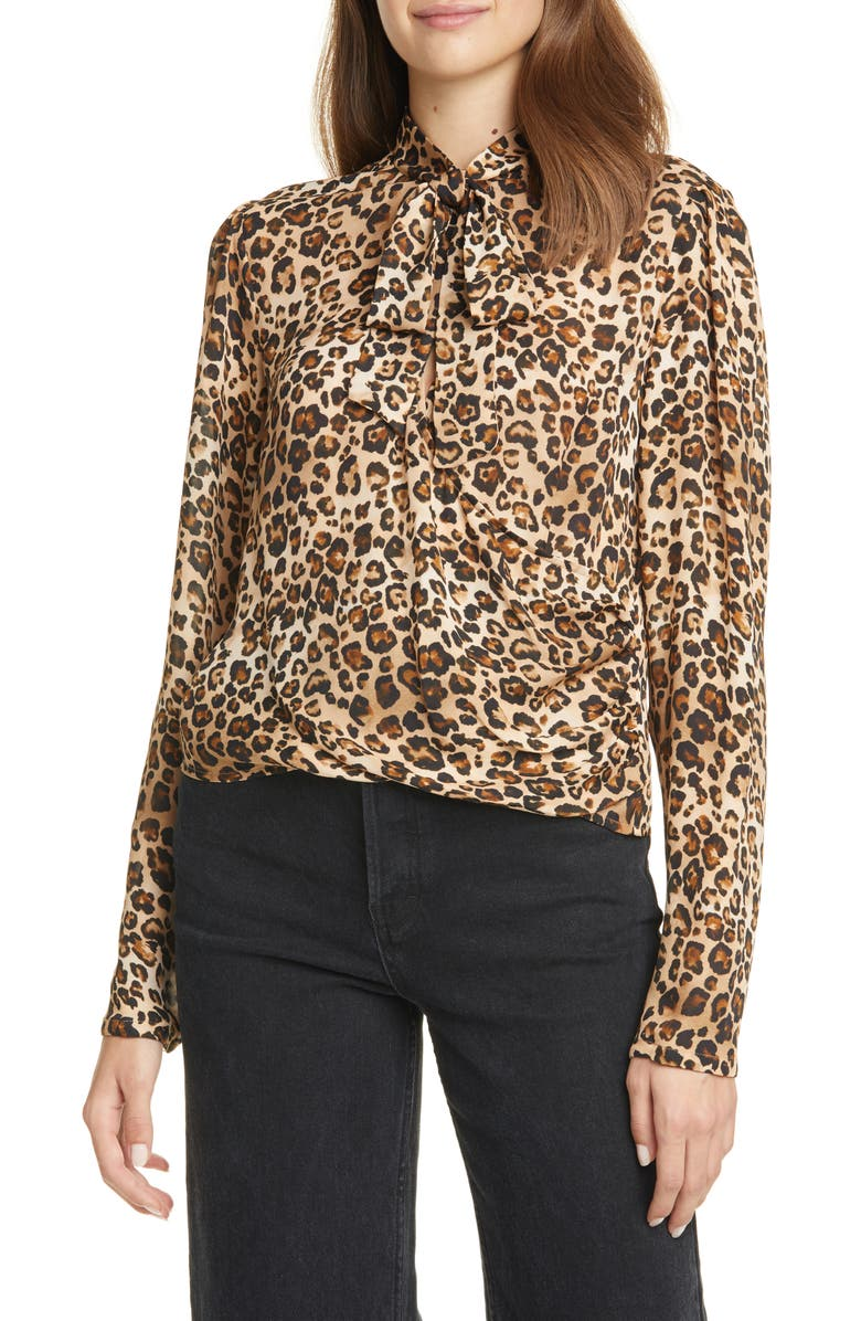 NICHOLAS Tie Neck Leopard Print Silk Top, Main, color, LEOPARD
