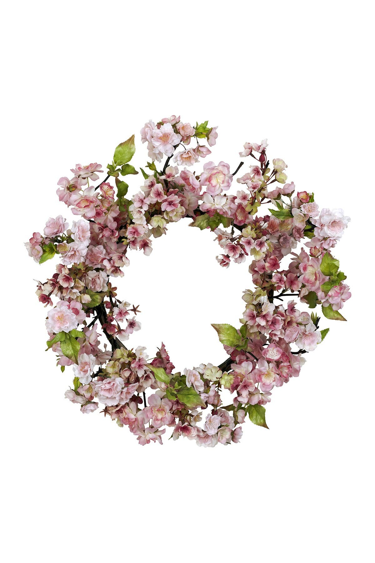 "Nearly Natural 24"" CHERRY BLOSSOM WREATH"