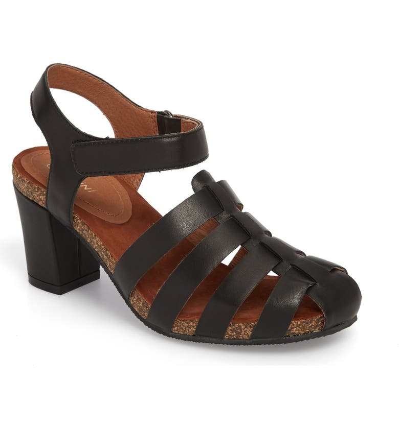 SUDINI Carrara Block Heel Sandal, Main, color, BLACK LEATHER