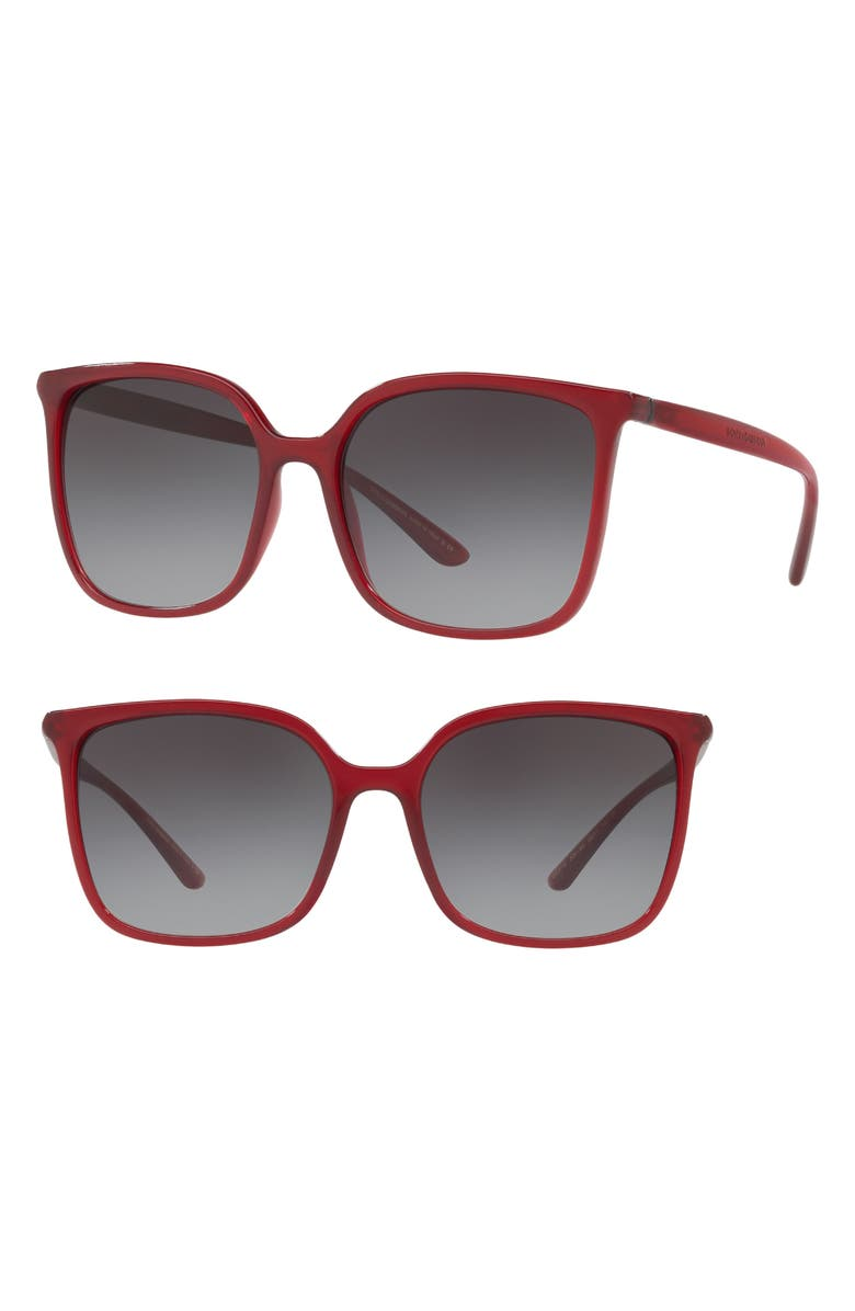 DOLCE&GABBANA 56mm Gradient Square Sunglasses, Main, color, BORDEAUX