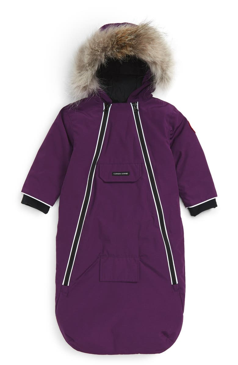 CANADA GOOSE 'Bunny' Hooded Bunting with Genuine Coyote Fur Trim, Main, color, 501