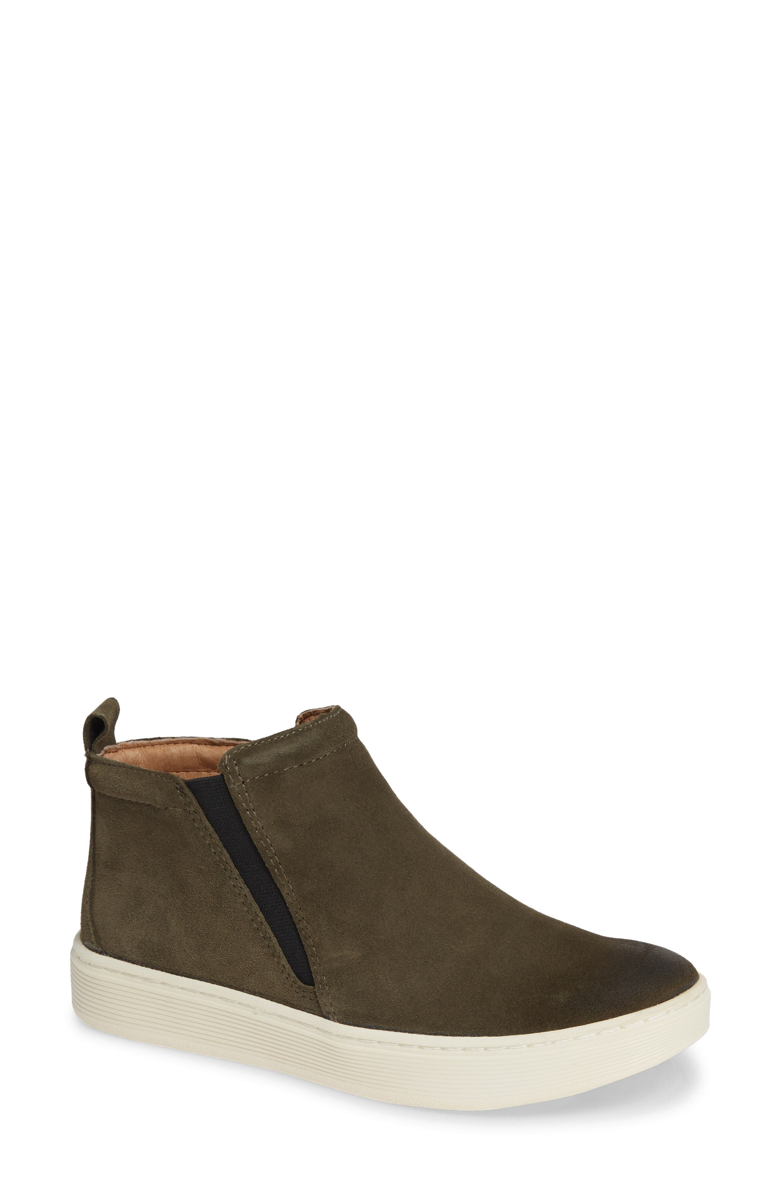 A sporty rubber platform lifts a sleek bootie crafted from smooth leather or soft suede. Style Name: Sofft Britton Ii Waterproof Sneaker Bootie (Women). Style Number: 5655539. Available in stores.