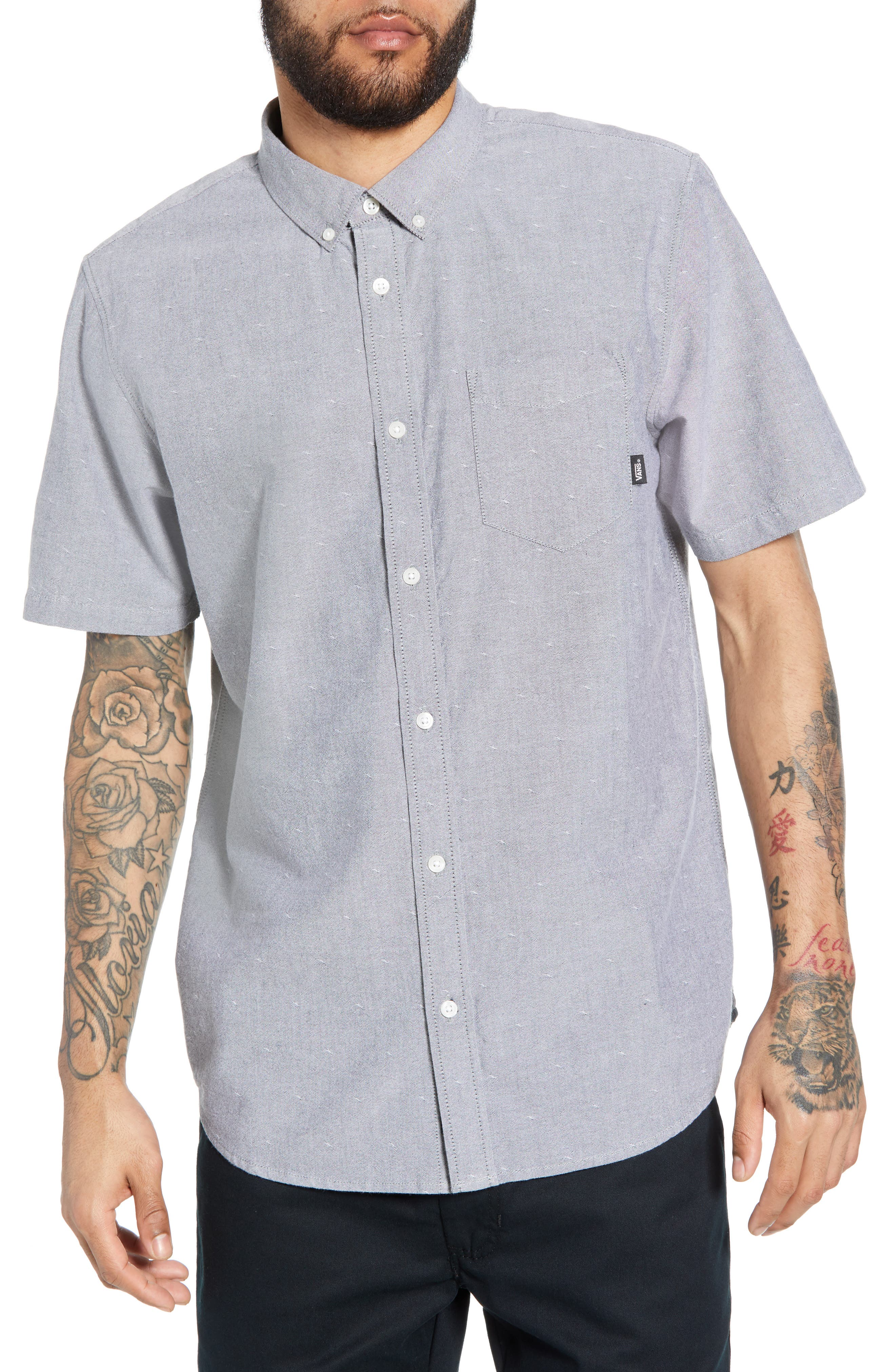 Gibbon Dobby Shirt, Main, color, FROST GREY