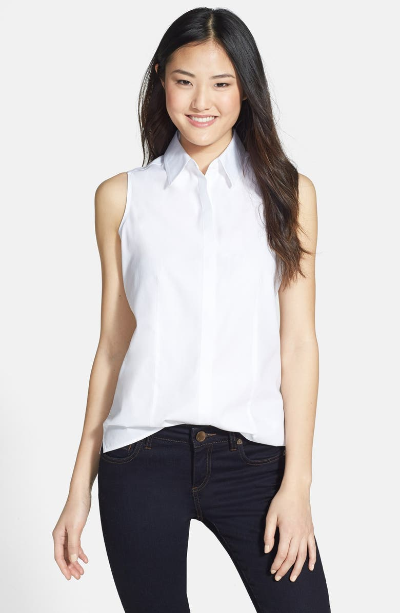 FOXCROFT Sleeveless Cotton Shirt, Main, color, 100