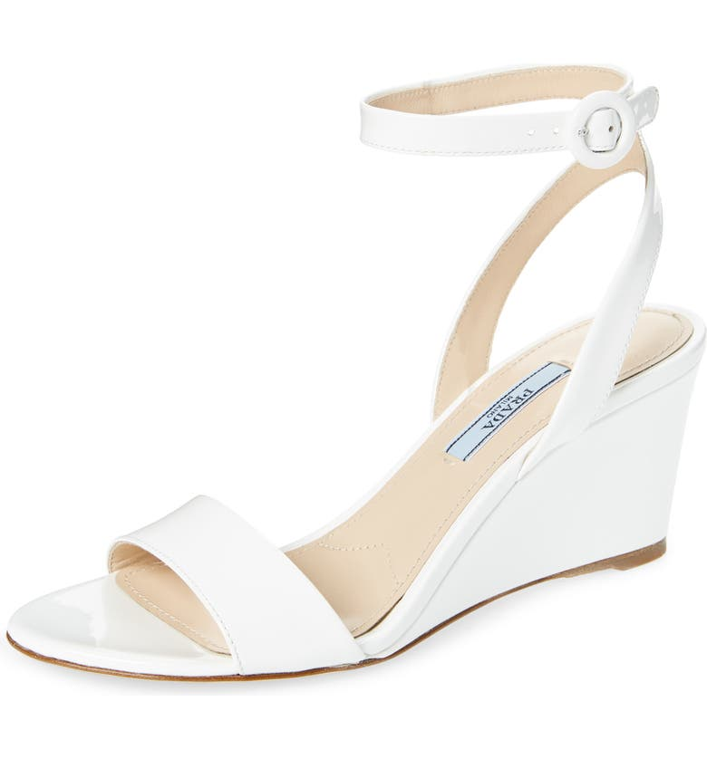 PRADA Wedge Sandal, Main, color, WHITE