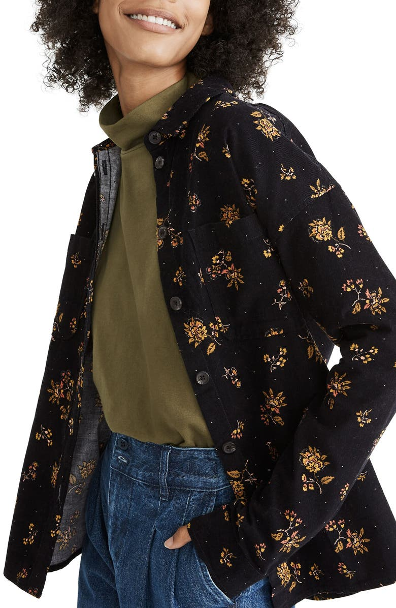 MADEWELL Fall Floral Corduroy Shirt Jacket, Main, color, CORD FLORAL TRUE BLACK
