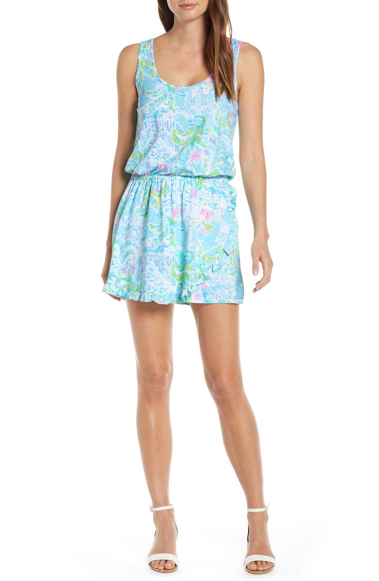 LILLY PULITZER<SUP>®</SUP> Analee Blouson Romper, Main, color, MULTI WHAT A LOVELY PLACE