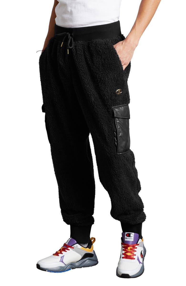 CHAMPION Faux Fur Cargo Sweatpants, Main, color, BLACK
