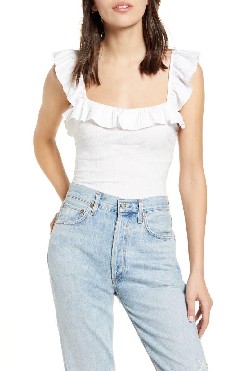 CAPULET Bookman Ruffle Neck Sleeveless Stretch Cotton Bodysuit, Main, color, WHITE TEXTURED RIB