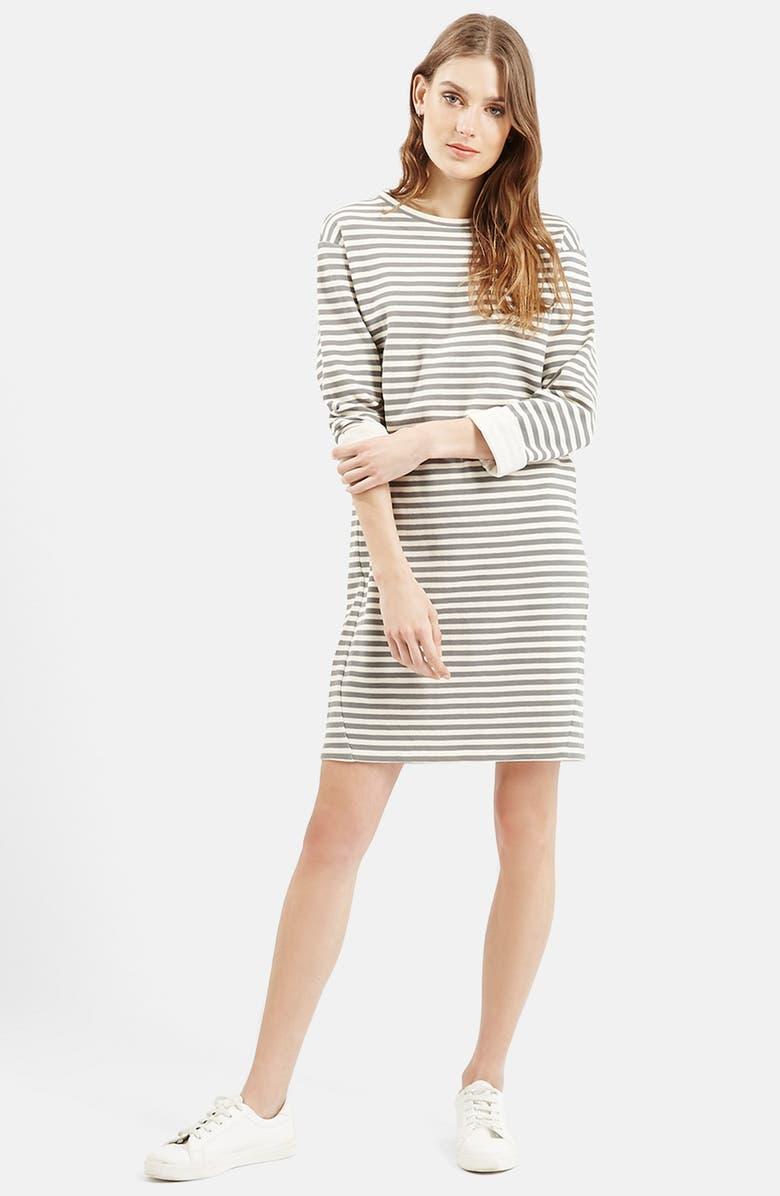 TOPSHOP Stripe Sweater Dress, Main, color, 001