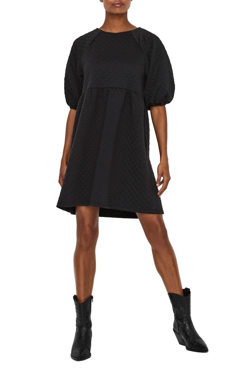 VERO MODA Cayle Quilted Minidress, Main, color, BLACK