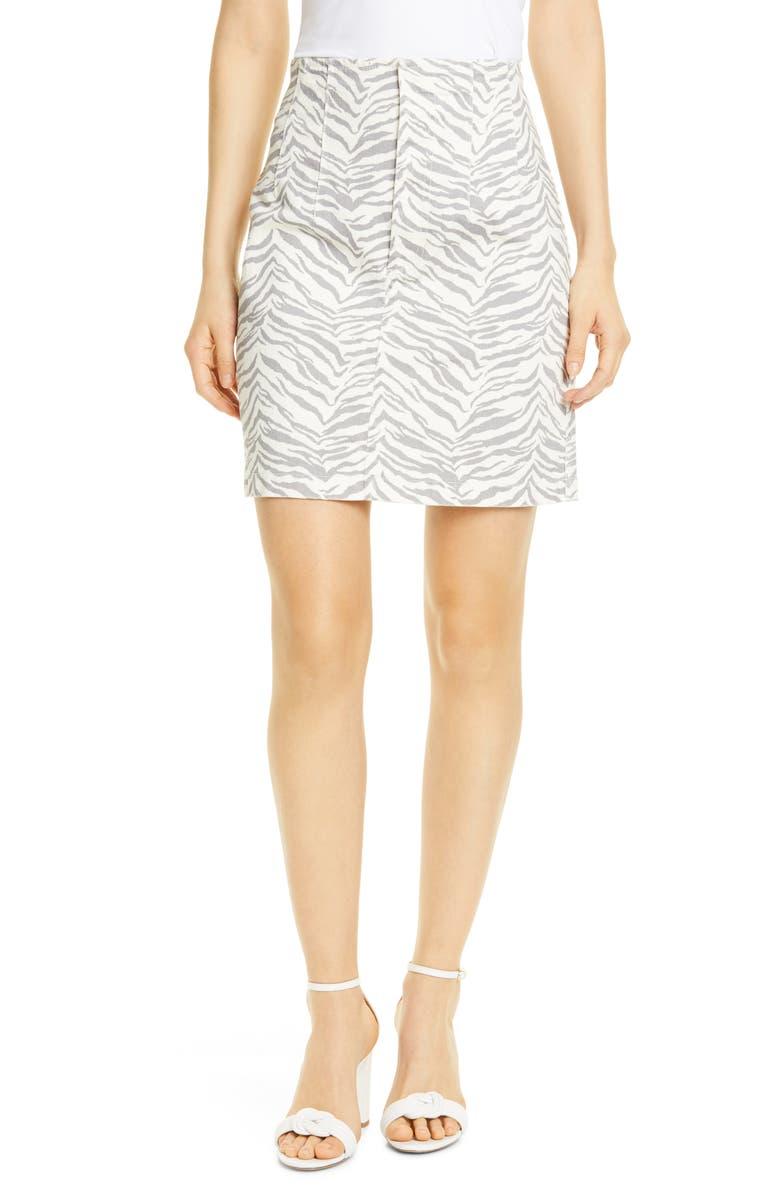 LA VIE REBECCA TAYLOR Ziger Denim Pencil Skirt, Main, color, CREAM COMBO
