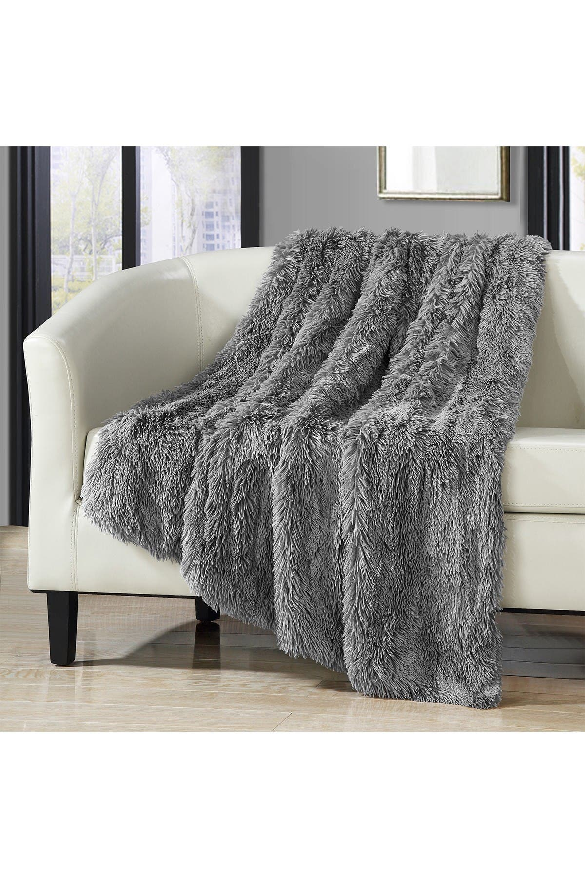 Image of Chic Home Bedding Silver Alaska Faux Fur Throw Blanket