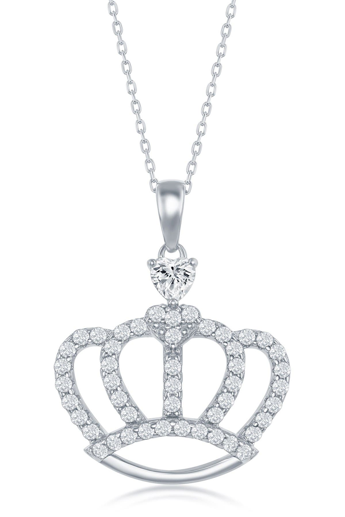 Pave CZ Crown Sterling Silver Jewelry Set of 4-Cz Crown Necklace-Cz Crown Earrings-Crown Ring-Crown Bracelet-Lovely Holiday Gift Jewelry