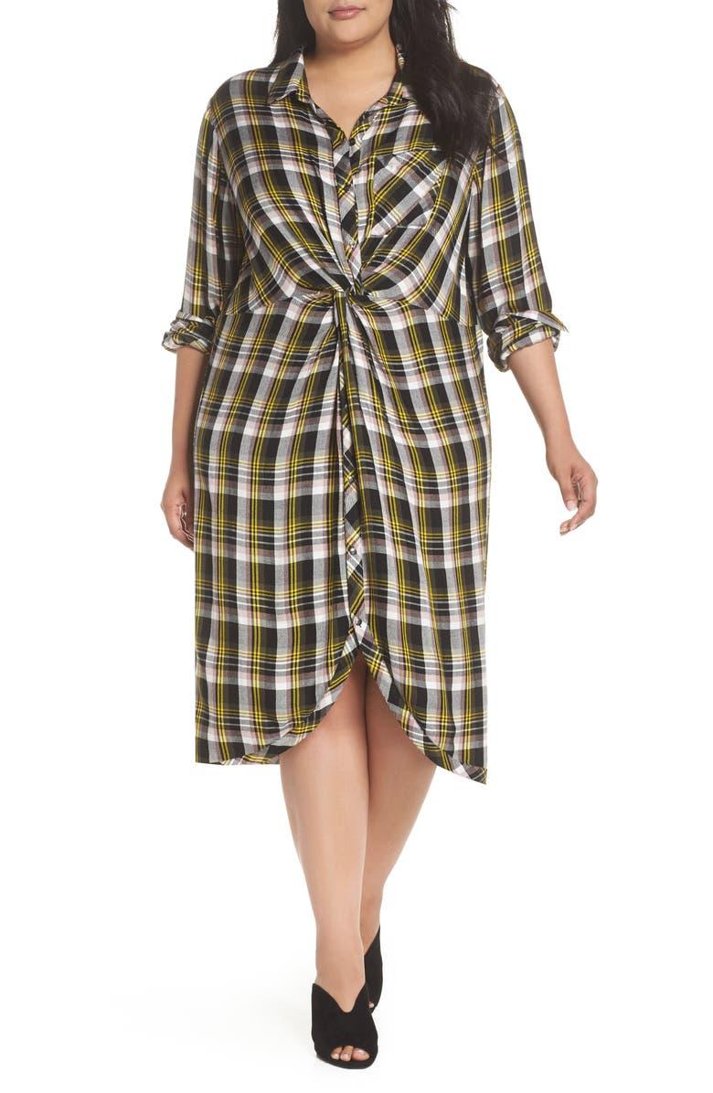 CASLON<SUP>®</SUP> Knot Front Plaid Shirtdress, Main, color, 001