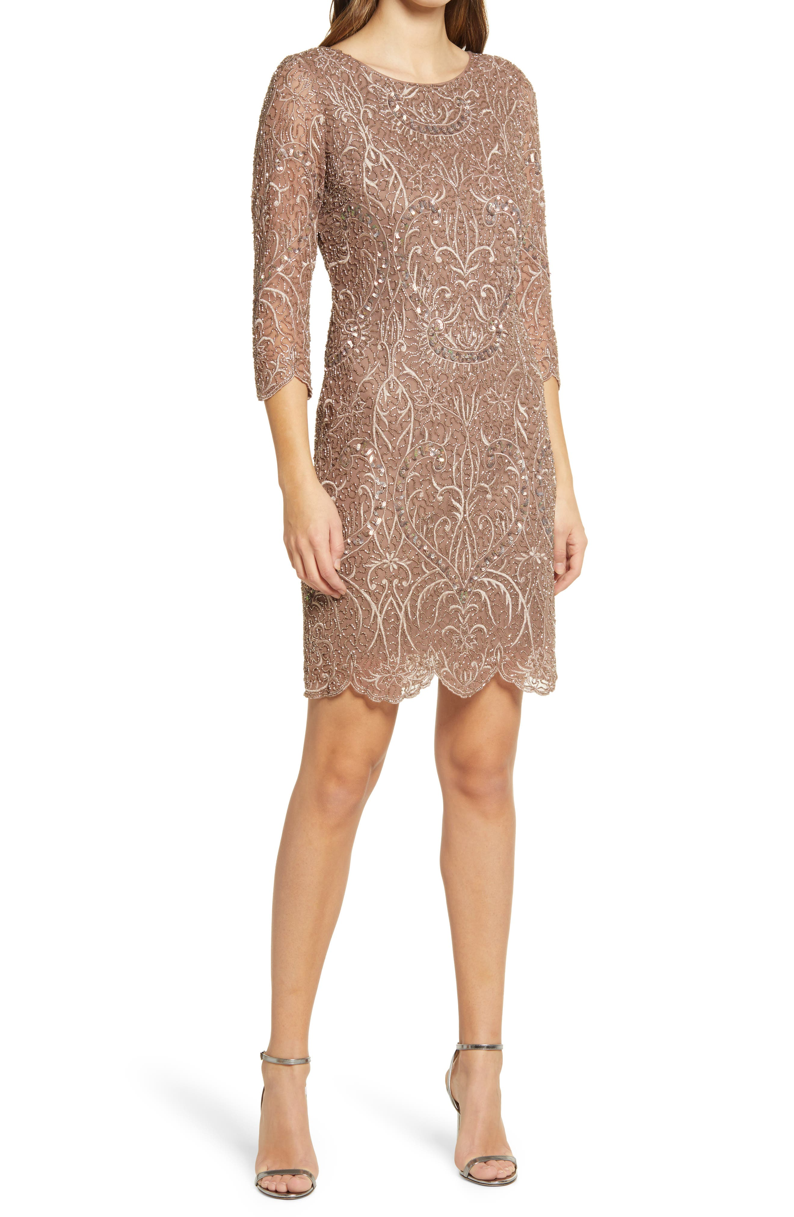 Roaring 20s Costumes- Flapper Costumes, Gangster Costumes Womens Pisarro Nights Embroidered Cocktail Dress Size 18 - Beige $218.00 AT vintagedancer.com