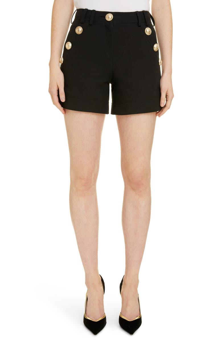 BALMAIN Button Pocket Shorts, Main, color, 0PA NOIR