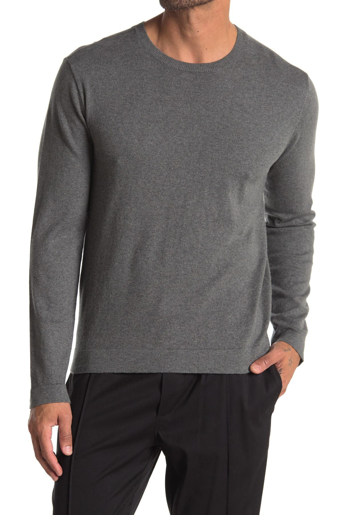 Image of AMICALE Cotton Cashmere Blend Crew Neck Sweater