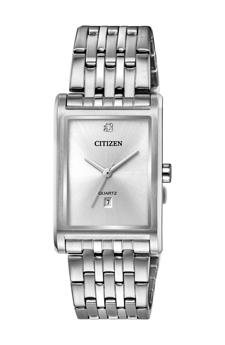 CITIZEN Men's Quartz Stainless Steel Bracelet Watch, 26mm, Main, color, SILVER