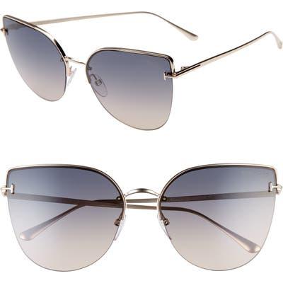 Tom Ford Ingrid 60mm Cat Eye Sunglasses - Rose Gold/ Gradient Brown